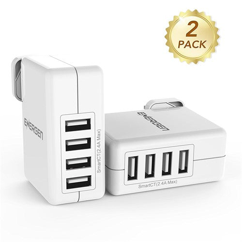 Energen 4-Port Interchangeable Prongs USB Wall Charger 30W - with Smart Technology Travel Charger - 2 Pack