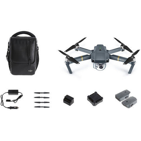 "DJI Mavic Pro ""Fly More Combo"" Bundle with Extra Battery, Extra Props, Battery Charging Hub, Car Charger, Power Bank Adapter, & Shoulder Bag"