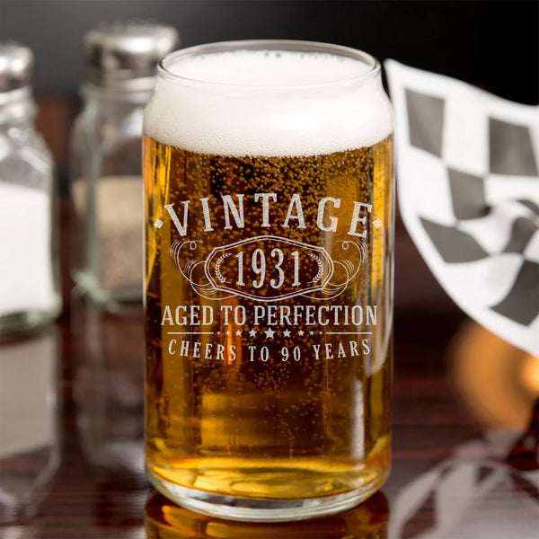 Vintage 1931 Etched 16oz Beer Can Glass - 90th Birthday Aged to Perfection - 90 years old gifts