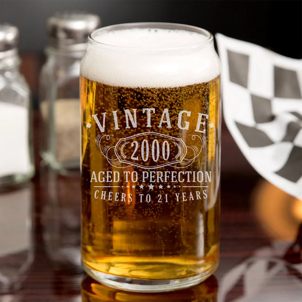 Vintage 2000 Etched 16oz Beer Can Glass - 21st Birthday Aged to Perfection - 21 years old gifts