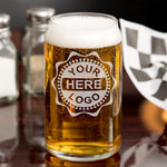 Your Logo Here or Custom Designs | Custom Etched 16oz. Beer Can Glass