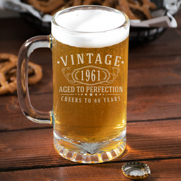 Vintage 1961 Etched 16oz Glass Beer Mug - 60th Birthday Aged to Perfection - 60 years old gifts