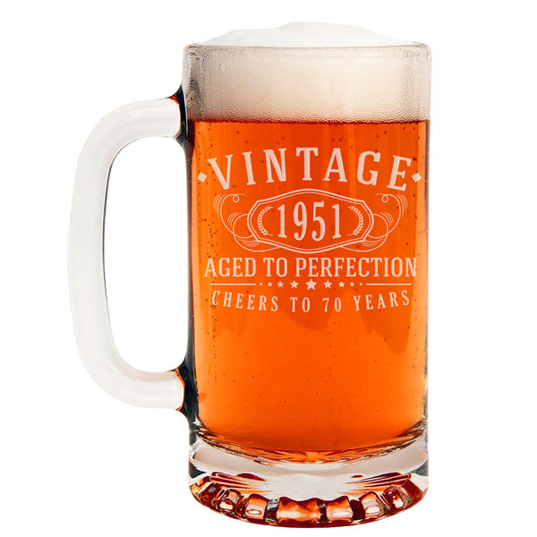 Vintage 1951 Etched 16oz Glass Beer Mug - 70th Birthday Aged to Perfection - 70 years old gifts