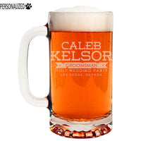 Kelsor Personalized Etched Glass Beer Mug 16oz