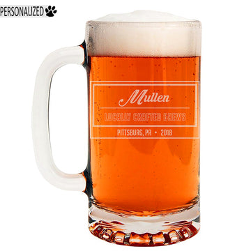 Mullen Personalized Etched Glass Beer Mug 16oz