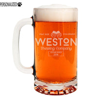 Weston Personalized Etched Glass Beer Mug 16oz