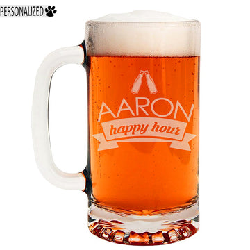 Aaron Personalized Etched Glass Beer Mug 16oz