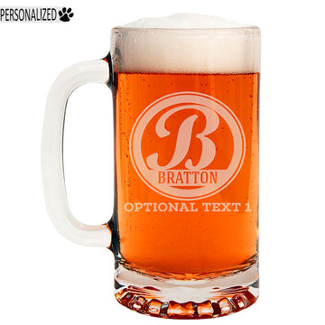 Bratton Personalized Etched Monogram Glass Beer Mug 16oz