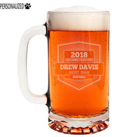 Davis Personalized Etched Glass Beer Mug 16oz