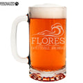 Flores Personalized Etched Glass Beer Mug 16oz