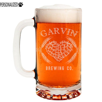 Garvin Personalized Etched Glass Beer Mug 16oz