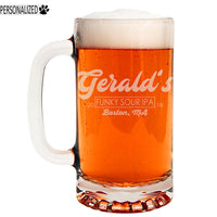 Gerald Personalized Etched Glass Beer Mug 16oz