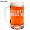 Gunner Personalized Etched Glass Beer Mug 16oz
