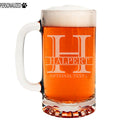 Halpert Personalized Etched Monogram Glass Beer Mug 16oz