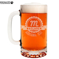 Maclaren Personalized Etched Glass Beer Mug 16oz
