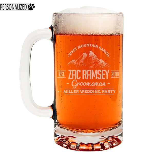 Ramsey Personalized Etched Glass Beer Mug 16oz