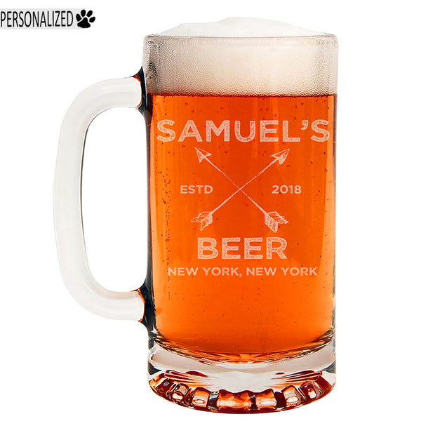 Samuel Personalized Etched Glass Beer Mug 16oz
