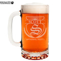 Scott Personalized Etched Monogram Glass Beer Mug 16oz