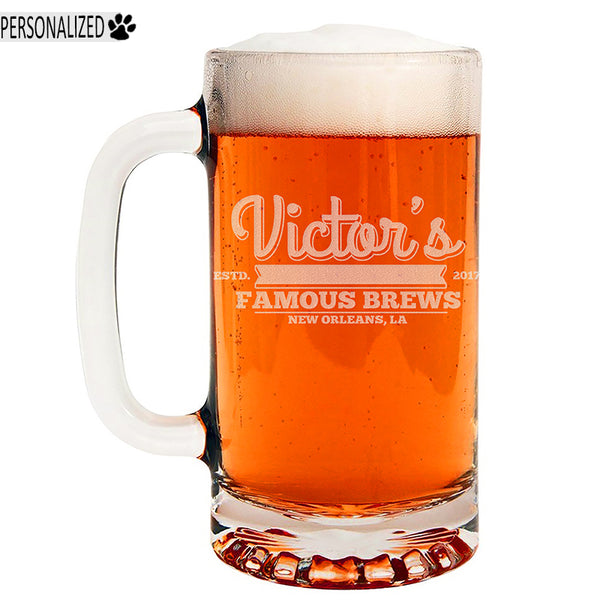 Victor Personalized Etched Glass Beer Mug 16oz