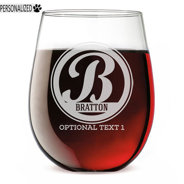 Bratton Personalized Etched Monogram Stemless Wine Glass 17oz