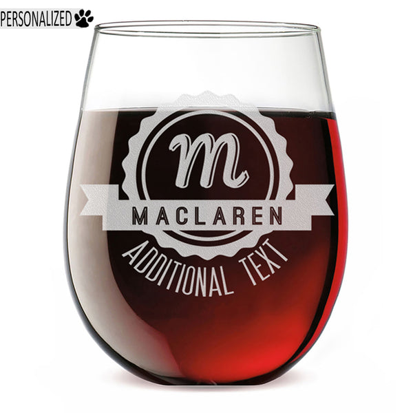 Maclaren Personalized Etched Monogram Stemless Wine Glass 17oz