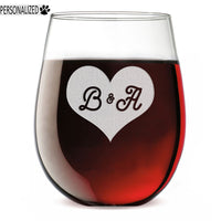 Heart Initials Personalized Etched Stemless Wine Glass 17oz