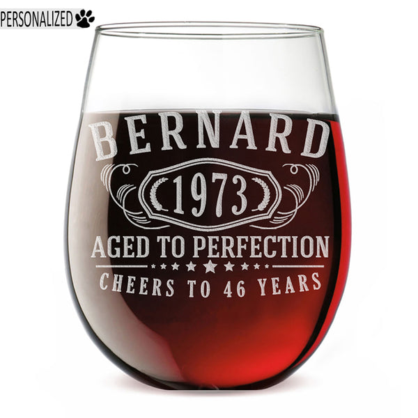 Bernard Personalized Etched Stemless Glass 17oz