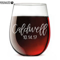 Caldwell Personalized Etched Stemless Wine Glass 17oz