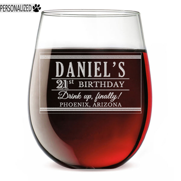 Daniel Personalized Etched Stemless Glass 17oz