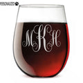 Script Personalized Etched Monogram Stemless Wine Glass 17oz