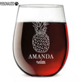 Pineapple Personalized Etched Stemless Wine Glass 17oz
