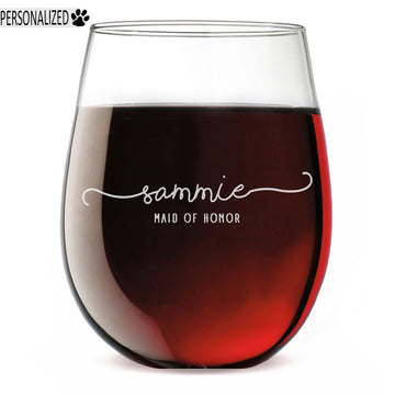 Personalized Etched 17oz Stemless Wine Glass