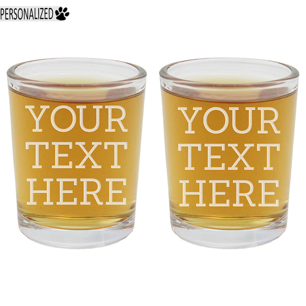 Your Custom Text 2pk Personalized Etched Shot Glasses 2.5oz