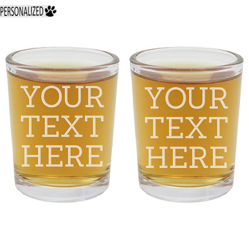 Custom Message 2pk Personalized Etched Shot Glasses 2.5oz ea