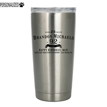 Brandon Personalized Etched Stainless Steel Tumbler 20oz