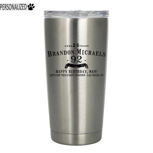 Personalized Etched 20oz Stainless Steel Tumbler for Birthday Gifts