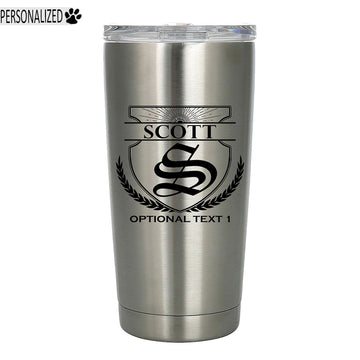 Scott Personalized Etched Monogram Insulated Stainless Steel Tumbler 20oz