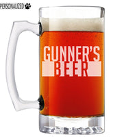 Gunner Personalized Etched Glass Beer Mug 25oz
