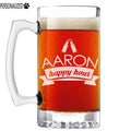 Aaron Personalized Etched Glass Beer Mug 25oz