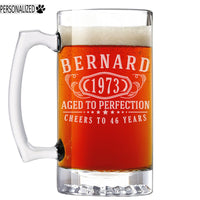 Bernard Personalized Etched Glass Beer Mug 25oz