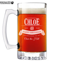 Personalized Etched 25oz Glass Beer Mug for Birthday Gifts