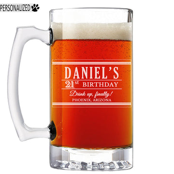 Daniel Personalized Etched Glass Beer Mug 25oz