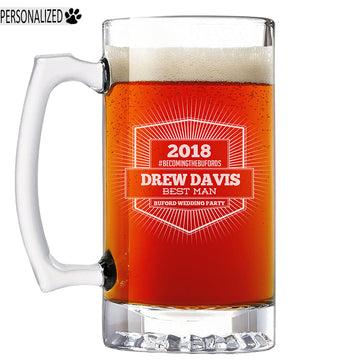 Davis Personalized Etched Glass Beer Mug 25oz