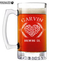 Garvin Personalized Etched Glass Beer Mug 25oz