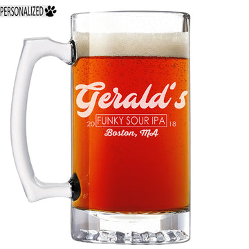 Gerald Personalized Etched Glass Beer Mug 25oz