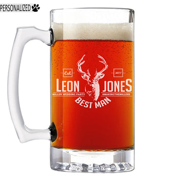 Jones Personalized Etched Glass Beer Mug 25oz