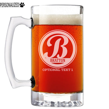 Bratton Personalized Etched Monogram Glass Beer Mug 25oz