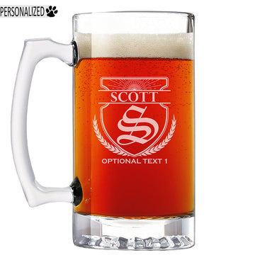 Scott Personalized Etched Monogram Glass Beer Mug 25oz