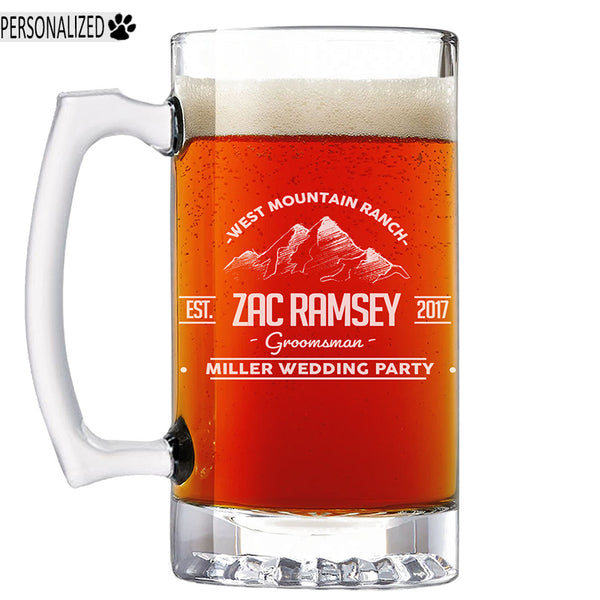 Ramsey Personalized Etched Glass Beer Mug 25oz