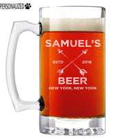 Samuel Personalized Etched Glass Beer Mug 25oz